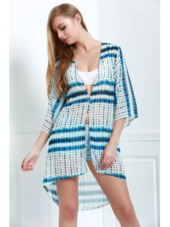 Wide Sleeve Chiffon Cover-Up - Blue Xl
