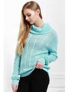 Solid Color All Match Loose Fitting Turtle Neck Sweater - Blue L