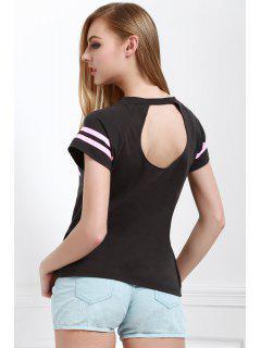 Carta De Impresión Fotografica De Cuello Redondo Manga Corta De La Camiseta - Gris S