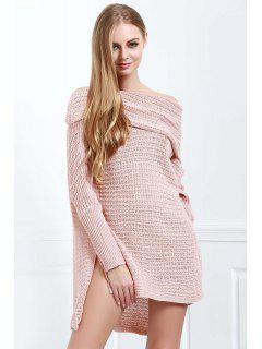 Off-The-Shoulder Solid Color Side Slit High-Low-Hem Sweater - Orange