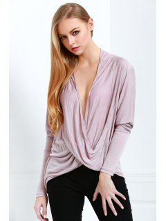 Plunging Neck Long Sleeve Loose Knitwear - Light Pink