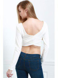 Back Cross Solid Color Long Sleeve Crop Top - White L