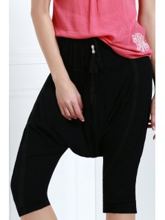 Drawstring Capri Harem Pants - Black L