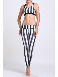 Striped Crop Top And Slimming Leggings Yoga Suit - L