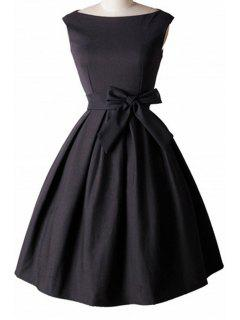 Bowknot Embellished Slash Neck Sleeveless Ball Gown Dress - Black L