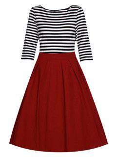 Striped Splice Round Collar Half Sleeve Dress - Red L