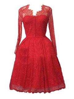 Sexy Lace Long Sleeve Ball Gown Birthday Dress - Red 2xl