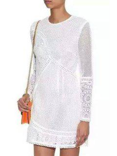 Lace Round Neck Long Sleeve Backless Dress - White M