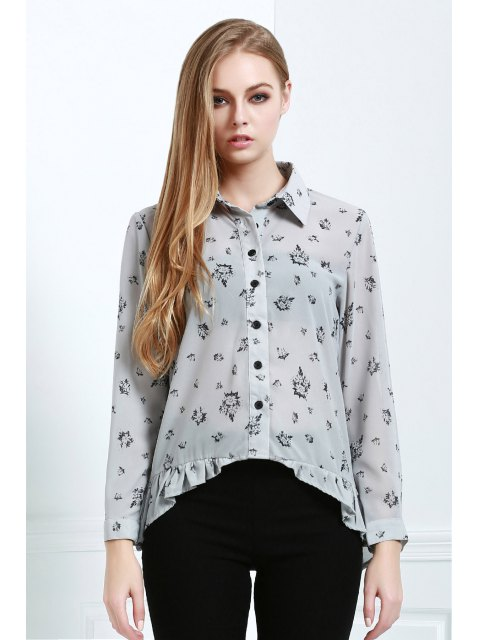 best Tiny Floral Print High Low Long Sleeve Shirt - LIGHT GRAY M Mobile