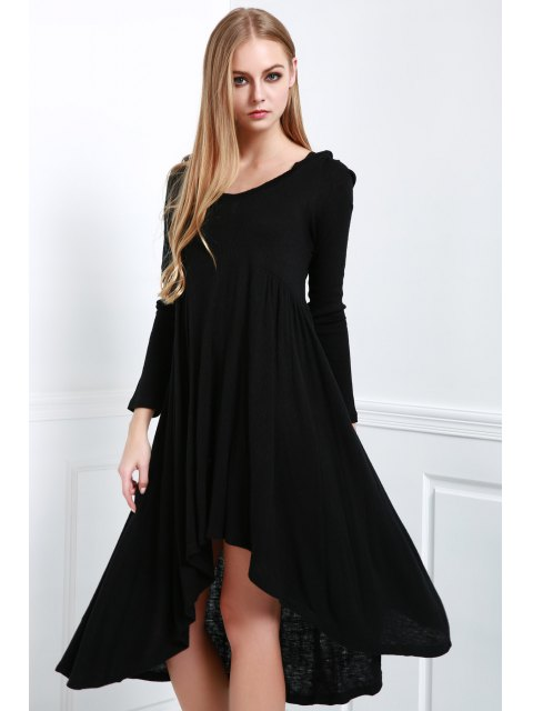 trendy Solid Color Hooded Long Sleeve Dress - BLACK M Mobile