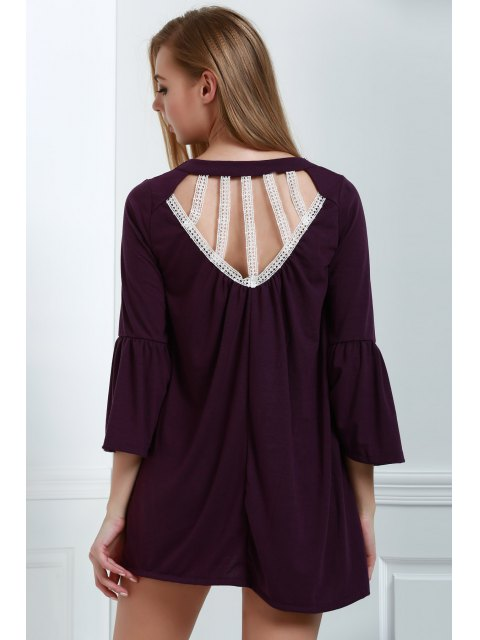chic Hollow Out Mini Shift Dress - PURPLE S Mobile