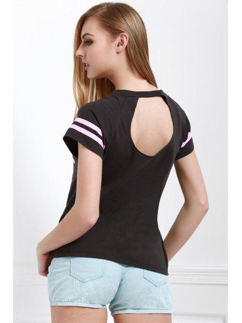 Carta de impresión fotografica de cuello redondo manga corta de la camiseta - Gris S Mobile