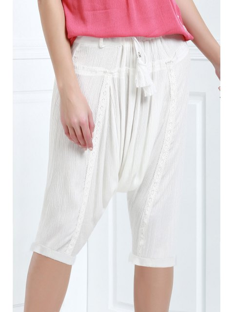 online Drawstring Capri Harem Pants - WHITE L Mobile