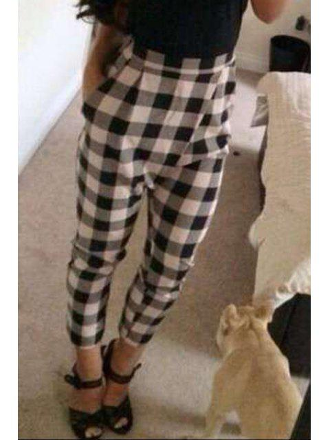 best High-Waisted Plaid Pocket Design Pants - WHITE AND BLACK M Mobile