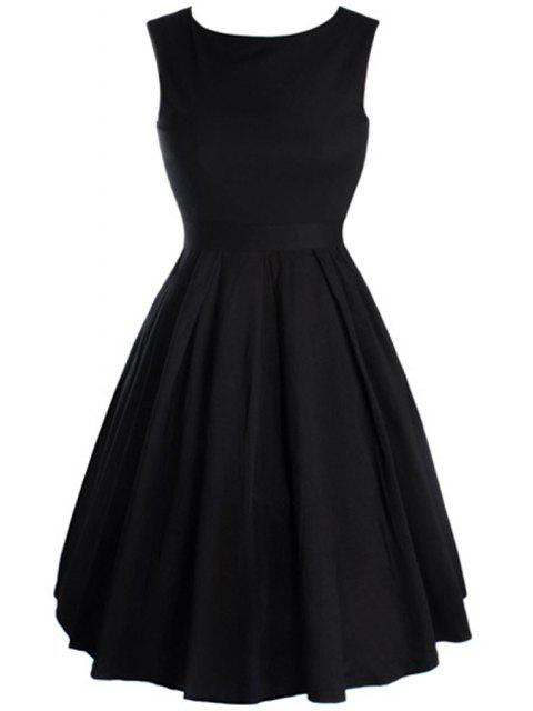 shops Bowknot Embellished Slash Neck Sleeveless Ball Gown Dress - BLACK L Mobile