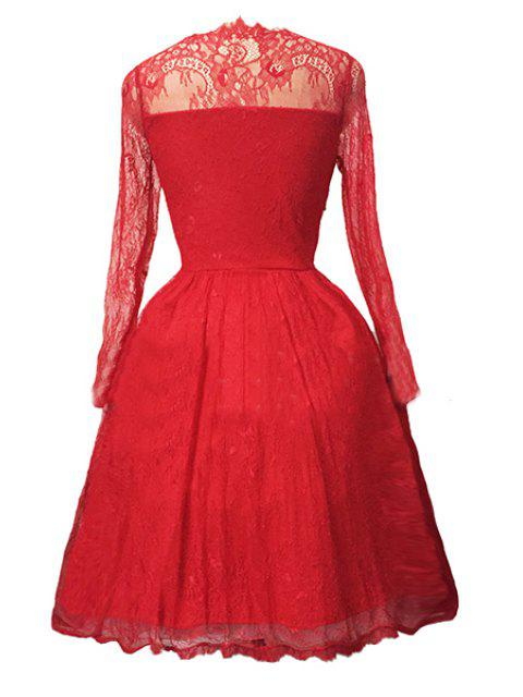 affordable Sexy Lace Long Sleeve Ball Gown Birthday Dress - RED XL Mobile