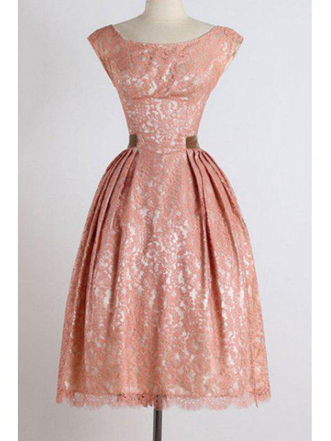 trendy Sleeveless Boat Neck Ball Gown Dress - PINK M Mobile