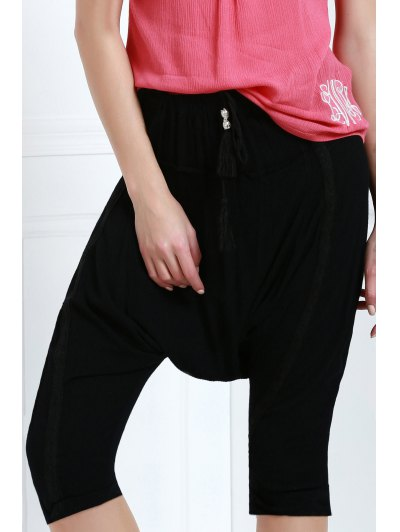 Drawstring Capri Harem Pants - Black Xl