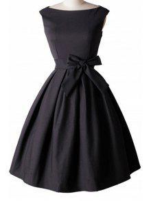 Bowknot Embellished Slash Neck Sleeveless Ball Gown Dress - Black L