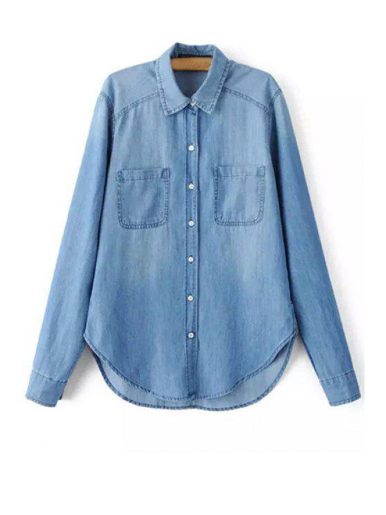 fashion Solid Color Shirt Collar Long Sleeve Denim Shirt - BLUE L