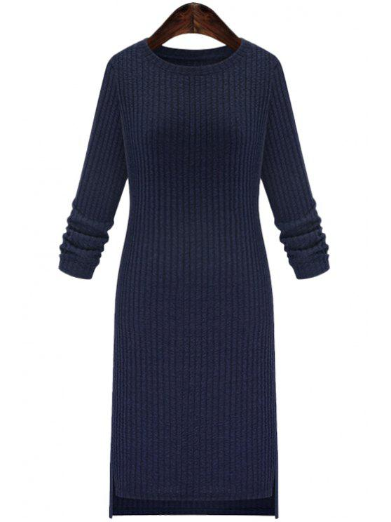 unique Solid Color Round Collar Long Sleeve Slimming Sweater Dress - CADETBLUE 2XL