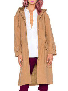 Solid Color Hooded Long Sleeve Wool Coat - Khaki M