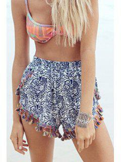 Fringed Blue And White Shorts - Blue And White S