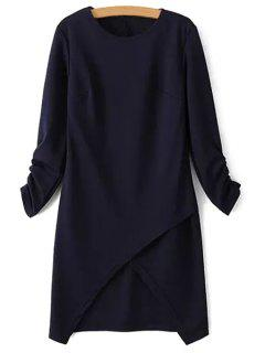 Irregular Hem Round Collar Solid Color Dress - Purplish Blue S
