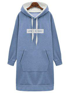 Big Pocket Hooded Long Sleeve Thicken Hoodie - Blue Xl