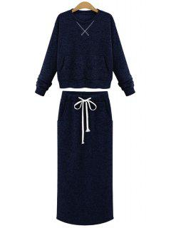 Round Collar Solid Color Sweater And Long Skirt Twinset - Deep Blue S