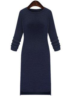 Solid Color Round Collar Long Sleeve Slimming Sweater Dress - Cadetblue 2xl