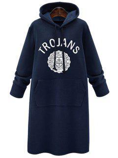 Printed Hooded Long Sleeve Hoodie Dress - Deep Blue M