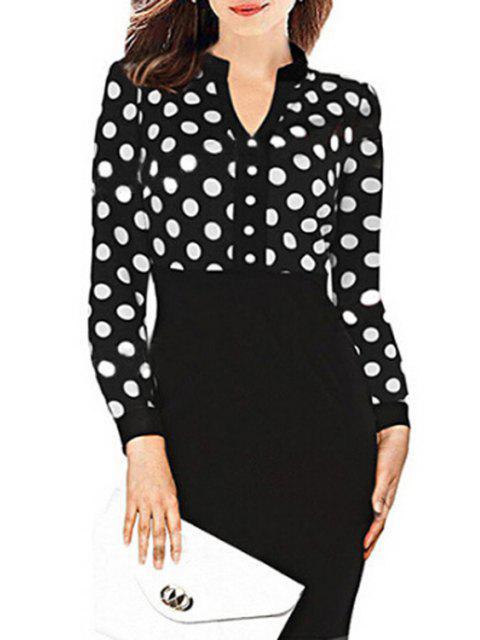 online Polka Dot Packet Buttocks Midi Dress - BLACK XL Mobile