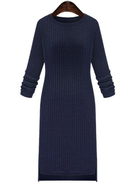unique Solid Color Round Collar Long Sleeve Slimming Sweater Dress - CADETBLUE 2XL Mobile
