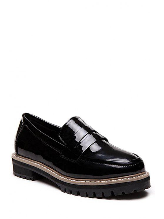 latest Solid Color Round Toe Flat Shoes - BLACK 36