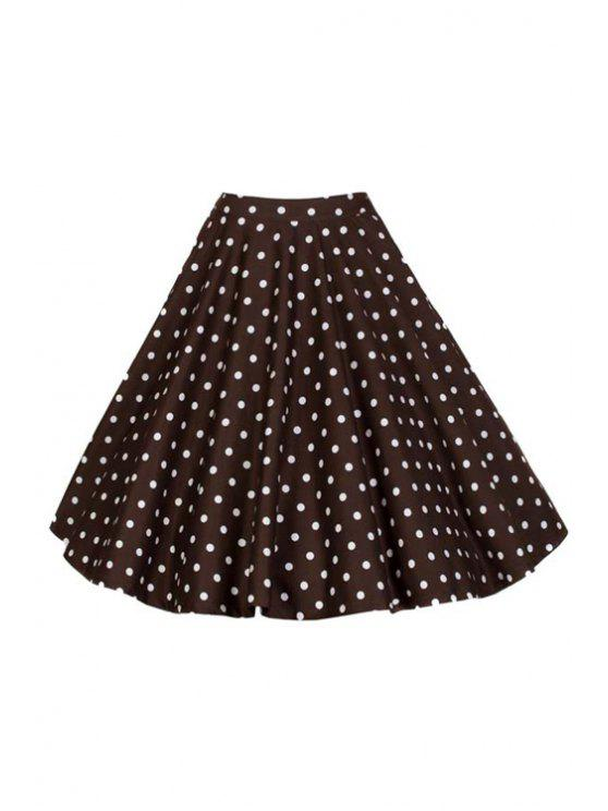 new Polka Dot Print High Waist Flare Skirt - BROWN S
