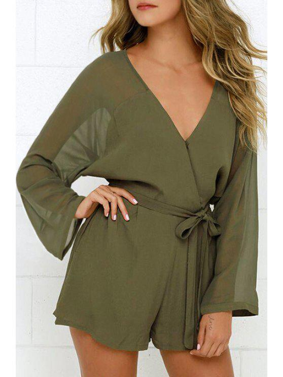 6c7ab4528420 2019 Solid Color V-Neck Long Sleeve Belted Romper In GREEN S