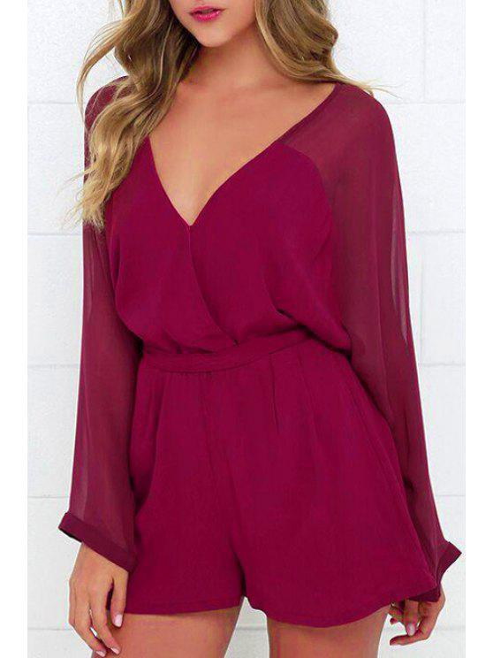 dfcbe33c1ce5 23% OFF  2019 Solid Color V-Neck Long Sleeve Belted Romper In DARK ...