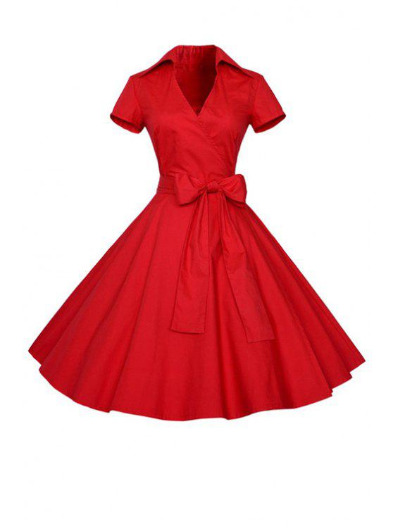 online Solid Color Turn Down Collar Short Sleeve Flare Dress - RED S