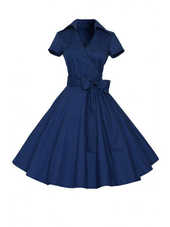 women's Solid Color Turn Down Collar Short Sleeve Flare Dress - PURPLISH BLUE M