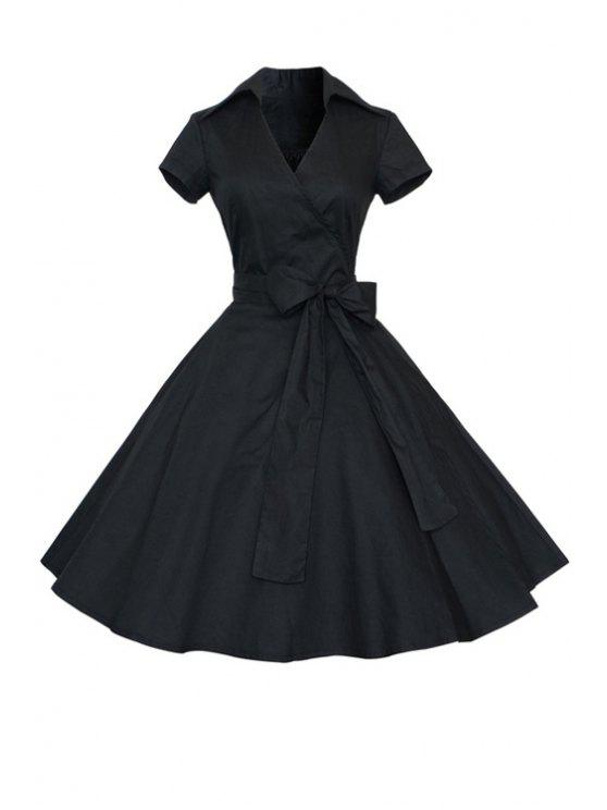affordable Solid Color Turn Down Collar Short Sleeve Flare Dress - BLACK L