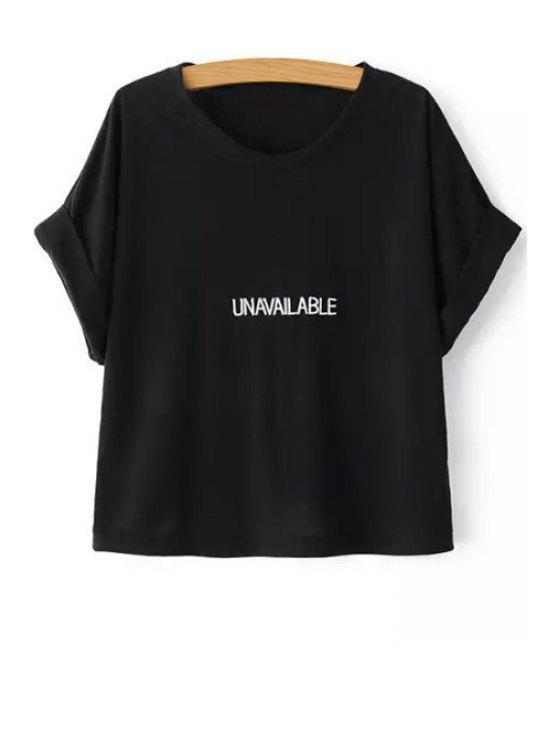 women Letter Pattern Round Collar Short Sleeve T-Shirt - BLACK M