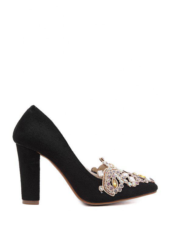 ladies Colorful Rhinestone Chunky Heel Suede Pumps - BLACK 38