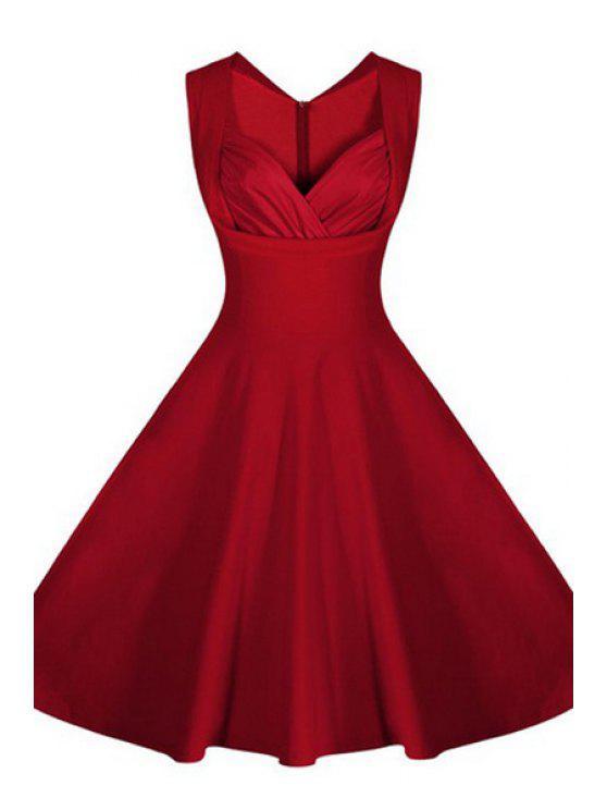 Pure Color V-cou manches Robe évasée - Rouge 2XL