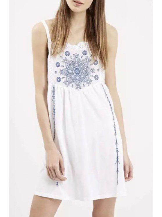 online Embroidered Cami Dress - WHITE S
