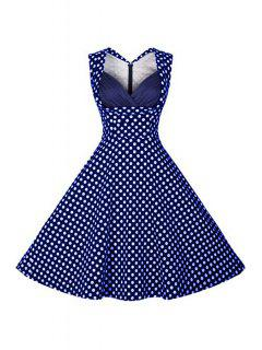 Polka Dot V Neck Sleeveless Flare Dress - Blue L
