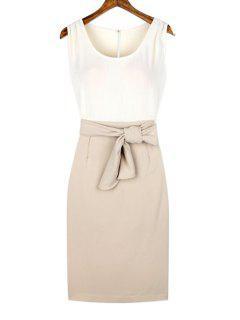 Sleeveless Color Block Back Slit Pencil Dress - Off-white Xl