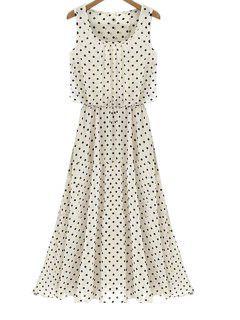 Sleeveless Polka Dot Chiffon Dress - White S