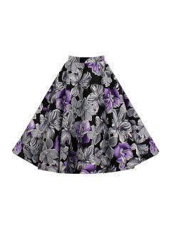 Purple Floral High Waist Flare Skirt - Purple M
