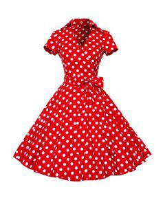 Polka Dot Turn Down Collar Short Sleeve Flare Dress - Red With White 2xl